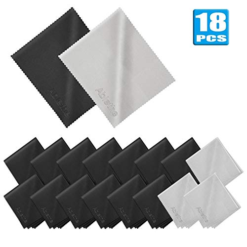 18 Pack Premium Microfiber Cleaning Cloths, Lintfree Fiber Cleaning Cloth for Cleaning Lenses, Glasses, Glass, Screens, Cameras, Cell Phone, Eyeglasses, LCD TV Screens, Tablets and More … …