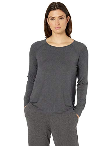 Amazon Essentials Women's Relaxed Long-Sleeve Sleep T-Shirt, Charcoal Heather, X-Large