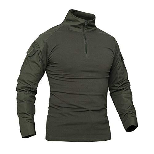 Camisa de Combate Militar táctica de Hombre con Mangas largas, Camiseta de Camuflaje Delgada con Cremallera