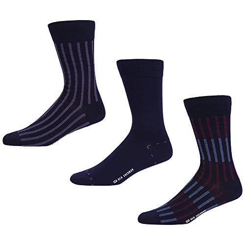 Ben Sherman Herren Nortons Coin Socken, Blau (Navy Stripe/Navy/Navy Thick Geo Stripe 3PKA), 7/10/2019 (Herstellergröße: 7-11) (3er Pack)
