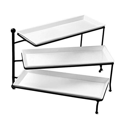 Sweese 731101 3 Tiered Serving Stand Foldable Rectangular Food Display Stand with White Porcelain Platters  Serving Trays Dessert Display Server for Brithday Party Valentine#039s Day and Events