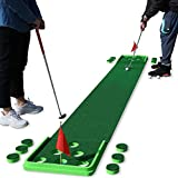 SPRAWL Golf Putting Mat Golf Practice Green 11.5 Feet Golf Pong Game 12 Holes Mat with 4 Balls for Indoor Short Game Office Backyard Use