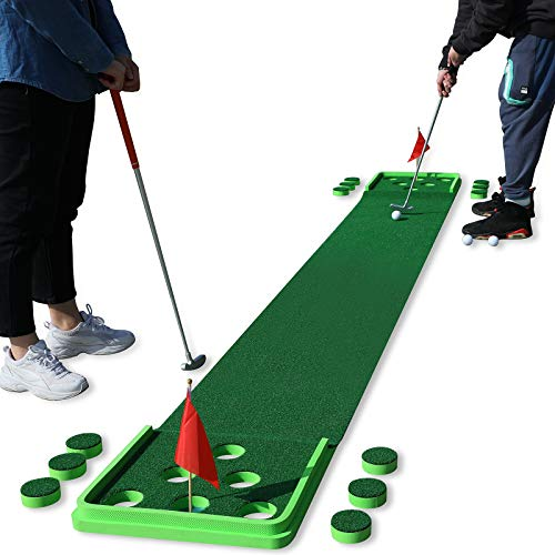 SPRAWL Golf Putting Mat Golf Practice Green 11.5 Feet Golf Pong Game 12 Holes Mat with 4 Balls for Indoor Short Game...