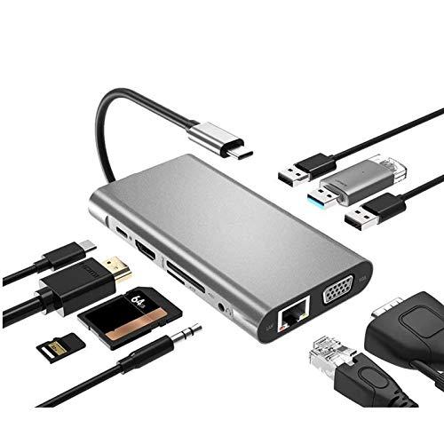 USB Type C Hub Type-C To HDMI 4K VGA Adapter RJ45 Lan Ethernet SD TF USB-C 3.0 Typec 3.5mm Audio Video for MacBook Pro OTG (Color : D)