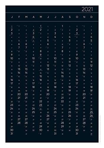 Jalall D'or Jahreskalender 2021 – umweltfreundlicher Wandkalender mit Wechselmotiv (schwarz/weiß) im DIN A1 Posterformat