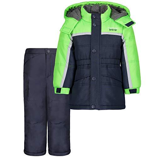LONDON FOG - Chaqueta de esquí y pantalón de esquí para bebé (2 Piezas), Azul, Verde, a Rayas (Green Blue Stripe), 12 Meses