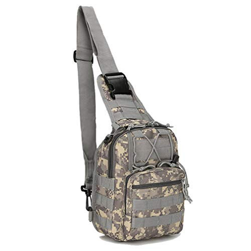 WANDOUSEN Camouflage Military Chest Bags, Tactical Sling One Shoulder Bag Crossbody Bag Army Molle Multifunction Multi-Pocket Pack Oxford Waterproof Hiking Cycling Travel ACU
