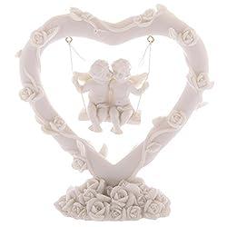 Liebesengel auf Schaukel in Herz-förmiger Blumenranke - Schutzengel Dekoration