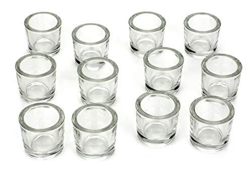NoNa 12er Set 6 cm Teelichtglas Glas Farbe Klar Kerzenglas Windlicht Kerzengläser