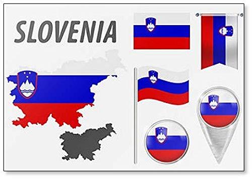 Slovenië. Verzameling van symbolen in kleuren nationale vlag Koelkast magneet