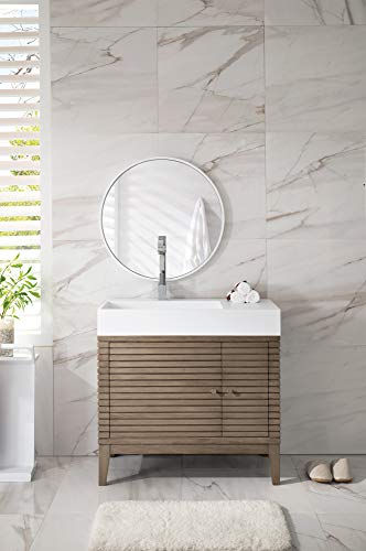 James Martin Furniture Linear 36' Single Vanity Whitewashed Walnut Glossy White Solid Surface Top
