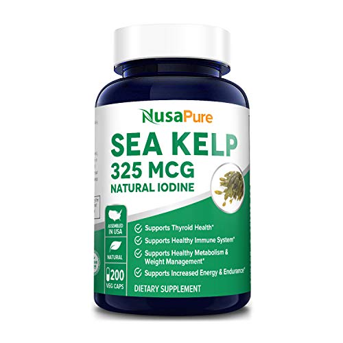Sea Kelp 325mcg 200 Veggie Capsules (Non-GMO & Gluten Free,Made with Organic kelp) - for Weight Loss, Thyroid Support, Helps with Hair and Nail Health, Anti-Aging & Boosts Vitamin A, B, C, D, E and K