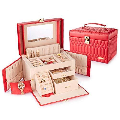 DGHJK Caja de joyería Organizador Caja de joyería Collar Caja de exhibición Maleta de joyería con Espejo (Color: Pink1, Tamaño: 25.518.517.5cm)