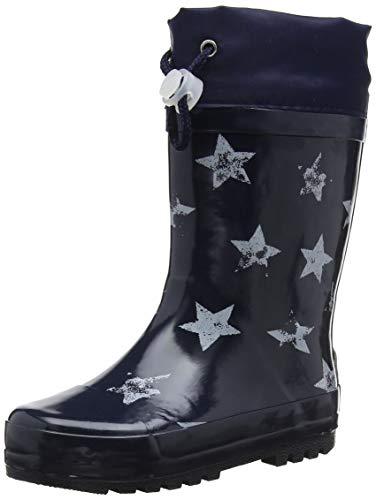 Playshoes Kinder Gummistiefel aus Naturkautschuk, trendige Unisex Regenstiefel mit Reflektoren, mit Sternen-Muster, Blau (marine 11), 28/29 EU