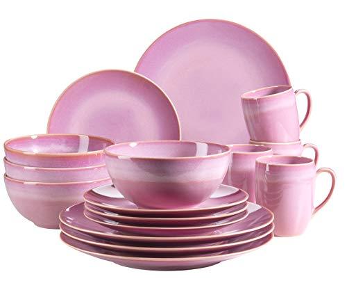 MÄSER 931544 Ossia Geschirr-Set für 4 Personen im mediterranen Vintage-Look, 16-teiliges Kombiservice in Amaranth Pink, Keramik