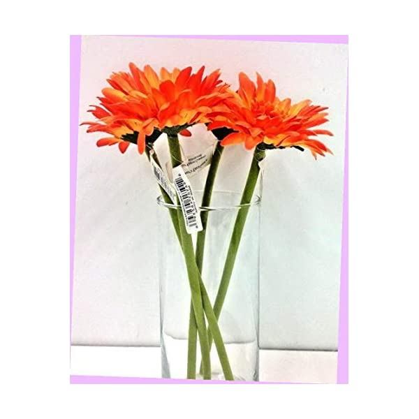 "Artificial Orange Silk Gerbera Daisy Stems Set of 4 11"" Tall X 3 1/2"" Wide Bloom Flowers Bouquet Realistic Flower Arrangements Craft Art Decor Plant for Party Home Wedding Decoration"