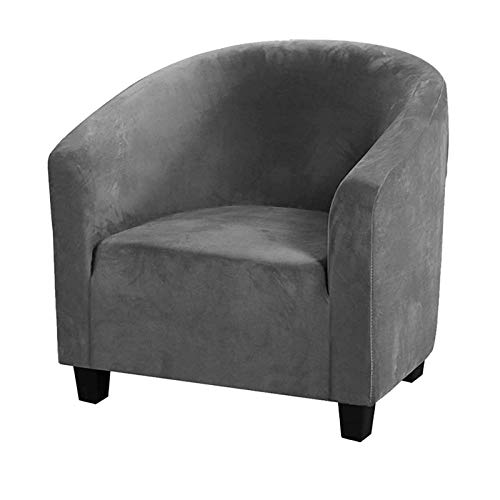 Stretch Tub Stuhlhussen für Sessel, All-inclusive Silver Fox Samt, Einzel-Sofabezug, abnehmbarer, waschbarer Couchbezug für Bar, Theke, Wohnzimmer