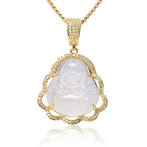 Lucky Buddha Necklace Natural Crystal Gemstones Buddhism Pendant Chain Dainty Good Luck Amulet Jewelry for Girls Boys