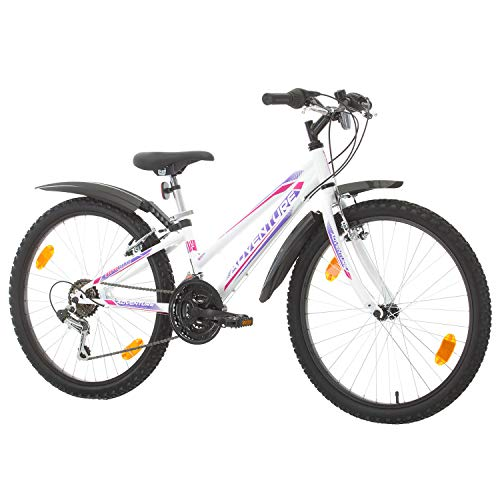 Multibrand, PROBIKE Adventure, 24 Zoll, 290mm, Mountainbike, 18 Gang, Schutzblech-Set, Für Damen, Kinder, Junioren (Weiß (with Mudguard Set))