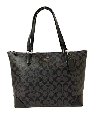 Coach Signature Zip Tote Shoulder Handbag (SV/Smoke PVC)