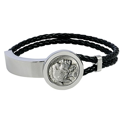 Buffalo Nickel Stainless Steel and Leather Men's Coin Bracelet