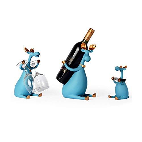Estante para Vino Elegante Estante Independiente para mostrador Estante para Vino Creativo y Decorativo Estante para Almacenamiento de Vino Adornos de decoración del hogar de Moda (Ciervo an