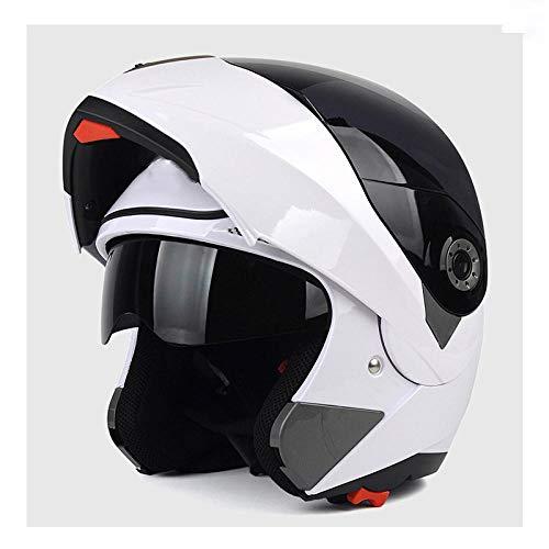 Off-road outdoor motorfiets elektrische fietshelm rijden sport fiets beschermende helm-wit (zwarte mist) Lichte, comfortabele en veilige helm_XL