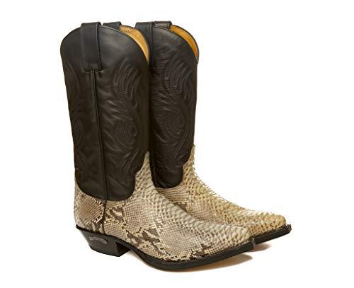 Sendra Boots Bota Western 2605 Pico en Pitón Natural y Cuero Negro (42 EU)
