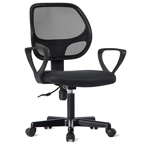 Ergonomischer Schreibtischstuhl,360° Drehstuhl Höhenverstellbar,Bürostuhl Computerstuhl drehstuhl mit Netz-Design-Sitzkissen,Bürohocker Arbeitshocker Rollhocker für Wohnzimmer Office,schwarz