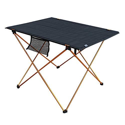 LLA Lichte, draagbare campingtafel, opvouwbare compacte picknicktafel, op wielen met draagtas voor outdoor camping strand geel