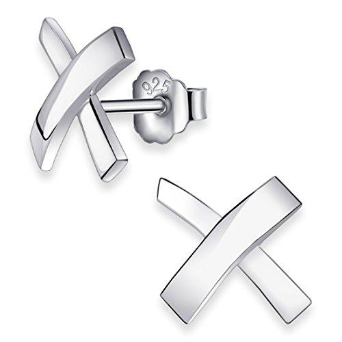 Materia #SO-65 Oorstekers voor dames, kruis, 925 zilver, groot, gerhodineerd, met geschenkdoos