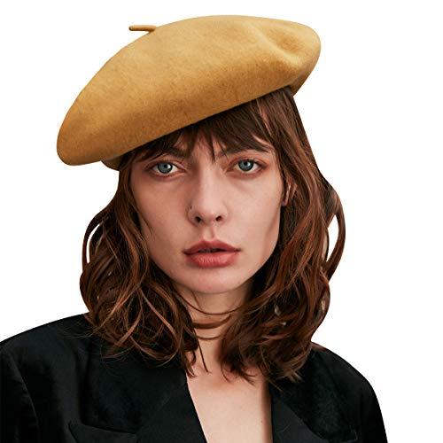 CACUSS Boina para Mujer 100% Lana Sombrero de Invierno Otoño Sombrero Redondo Cálido Sombrero de Boina Clásico de Lana para Chicas,Amarillo,L