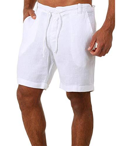 ORANDESIGNE Pantalones Cortos Deportivos de algodón para Hombres Verano Bermuda Sweatpant Pantalon Pijama Corto Salón Pantalones Cortos Deportivos Fitness Bolsillos Running Shorts A Blanco L