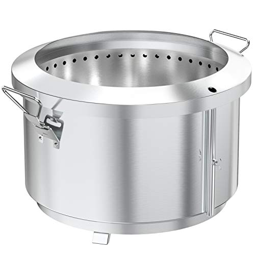 onlyfire 24 Inch Stainless Steel Outdoor Smokeless Fire Pit   Portable Wood Burning Stove with Detachable Handles for Backyard Camping