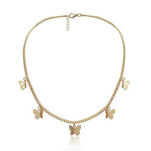 Vintage Metallic Halskette Schmetterling Anhänger Halskette mit Goldener oder silberner Kette Schmuck Geschenk für Frauen Damen Valentinstag