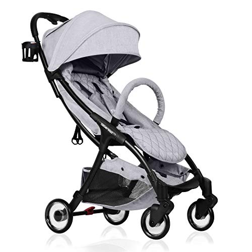 Compact Stroller, 2020 Beberoad R2 Version 3 Quick-Fold Super Compact Travel Stroller with Extra-Large Waterproof and UV 50+ Canopy, All Wheels Suspension, Apply to The 0-36months (45LBS)