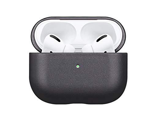 Fooyin [Handgefertigtes Serie] Leather Case für AirPods Pro, Leder Hülle kompatibel mit Apple AirPods Pro, AirPods 3 Ledercase (komplett umhüllendes mit Vollnarbenleder), Schwarz