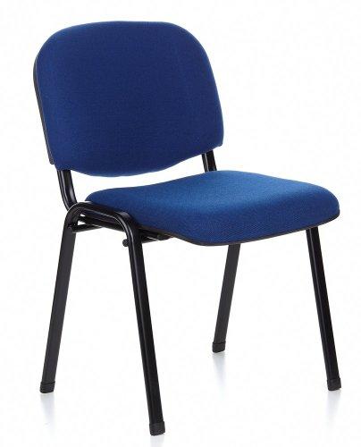 hjh OFFICE 704010 Besucherstuhl XT 600 Stoff Blau/Schwarz Konferenzstuhl bequem gepolstert, stapelbar, Metallgestell