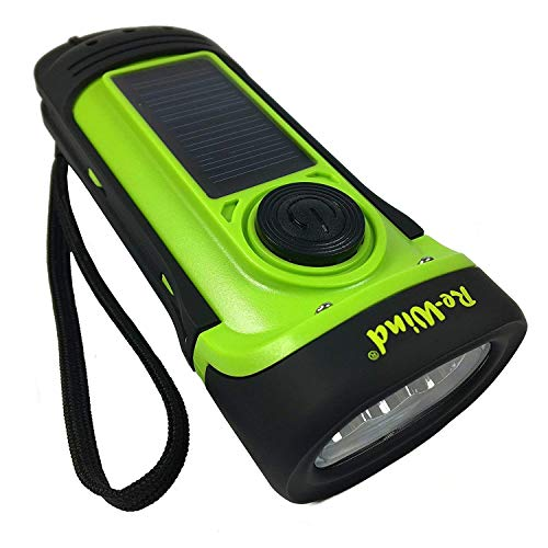NEW Re-Wind Wind Up Solar Rechargeable Waterproof LED Torch Flashlight with...