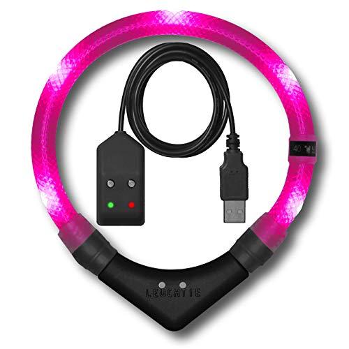 LEUCHTIE® Leuchthalsband Premium Easy Charge hotpink Größe 45 I LED Halsband für Hunde I USB aufladbar I konstante Leuchtkraft I wasserdicht I extrem hell