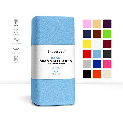 Jacobson Jersey Spannbettlaken Spannbetttuch Baumwolle Bettlaken (90x200-100x200 cm, Hellblau)