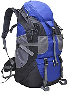 Hiking Backpack Trekking Bag Waterproof 50L Large Capicity Blue for Outdoor Camping Fishing Backpacking Mountaineering Traveling Climbing Hunting