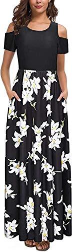 Kancystore Women's Floral Printed Short Sleeve Off Shoulder Elastic Waist Party Dress (Black_M)