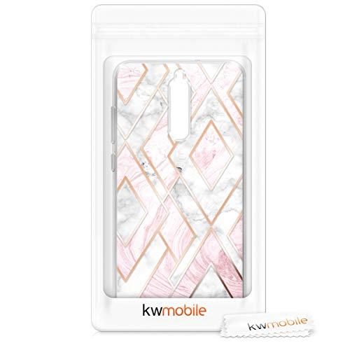 kwmobile Huawei Mate 10 Lite Hülle - Handyhülle für Huawei Mate 10 Lite - Handy Case in Glory Mix Marmor Design Rosegold Weiß Altrosa - 6