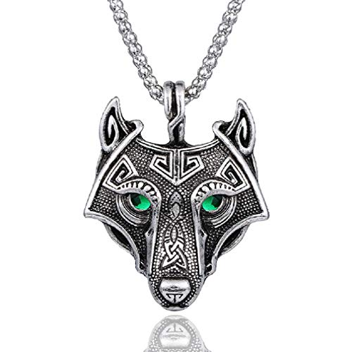 Collar nórdico vikingo para hombre, con colgante de cabeza de lobo verde, con cadena de 23,6...