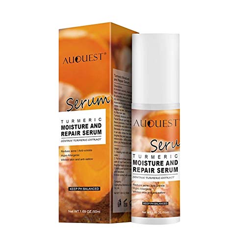 Angmile Natural Turmeric Moisture And Repair Serum 50ml/1.69 oz Hydrating Anti-Wrinkle Shrink Pores Improve Acnes Scars Face Skin Care Nourishing Essential Liquid