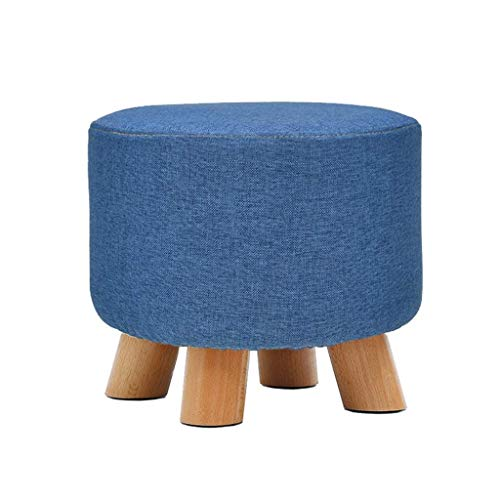 ZHENGTAO Footrest Seat, Sturdy Wrap Shoes Small Bench Round Chair Foot Rest Household Wood Solid Cotton Linen Makeup Stool Puff Puff Puff forKitchen Living Room (Color: Blue)