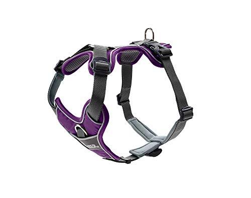 HUNTER DIVO Hundegeschirr, Nylon, gepolstert mit Mesh-Material und Neopren, ergonomisch, reflektierend, L, violett/grau