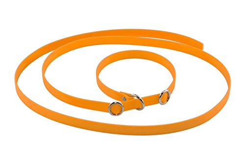 LENNIE BioThane Retrieverleine, 3m lang, Pastell-Orange, Breite, Handschlaufe, Stopperringe wählbar, Moxonleine