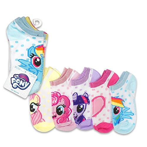 5-Pack My Little Pony Shimmer Cuff & Polka Dot No-Show Socks,Little Girls Shoe Size 7.5-3.5, Sock Size 6-8.5